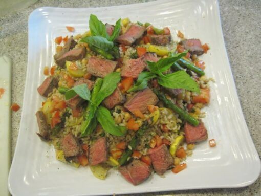 farmers market beef and rice salad