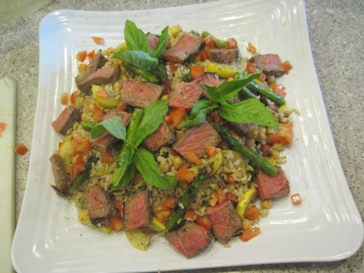 Farmer's Market Vegetable, Beef, and Brown Rice Salad