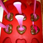 Valentine's Day Chocolate Hearts on a Spoon