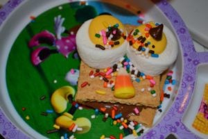 owl s'mores with sprinkles