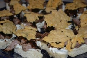 beef appetizers with parmesan crisps