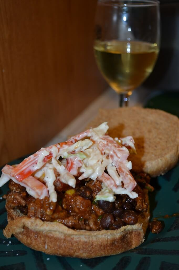chipotle sloppy joes with crunchy cole slaw