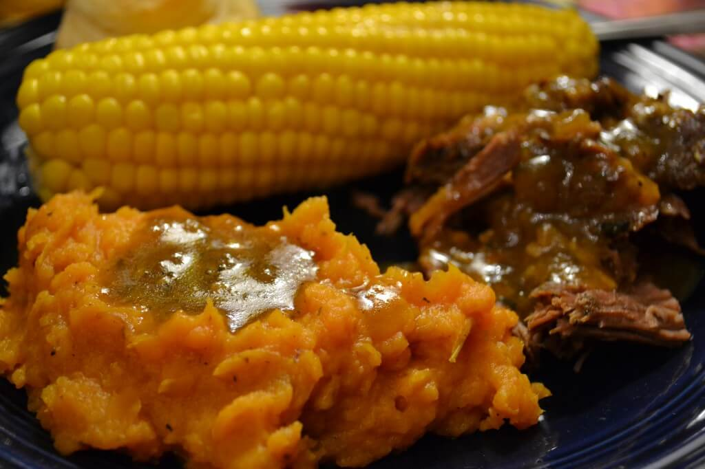 beef pot roast with mashed ginger sweet potatoes