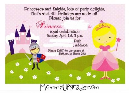 bday invite edited princess and knight party kids party themes mommyupgrade com,Knight Birthday Party Invitations