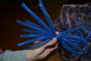 blue string for deco mesh wreath