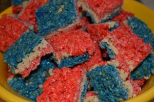 red white and blue rice krispy treats