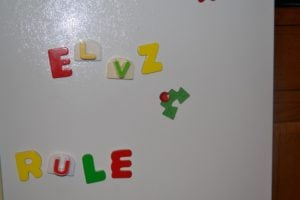 elf message on refrigerator