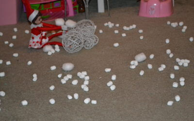 Elf on the Shelf mischief: Day 22 Snowball Fight