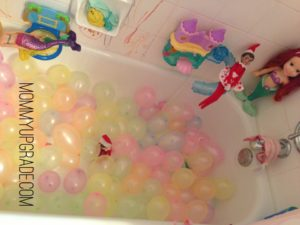 elf on a shelf balloon ball pit in tub