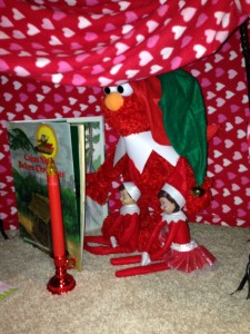 elmo with elf on shelf