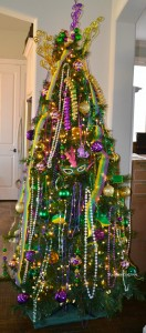 christmas tree turned mardi gras tree