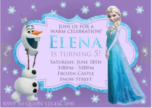 Elsa Frozen invitations