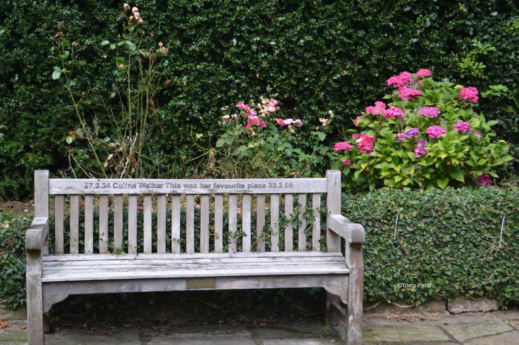 memorial bench at whitley hall hotel