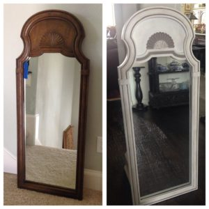 before and after of chalk paint mirror