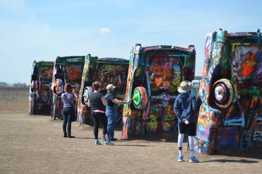 tourists at cadillac ranch