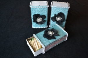 diy matchbox in breakfast at tiffany's theme