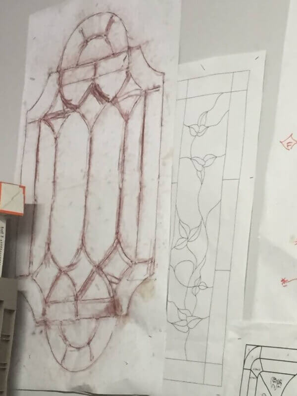 sketch of stained glass project