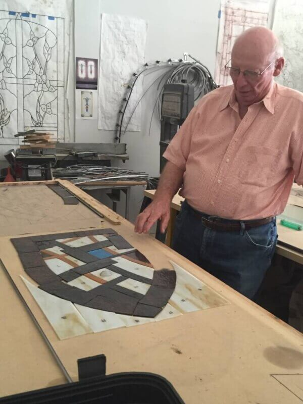 steve trimble with a stained glass project