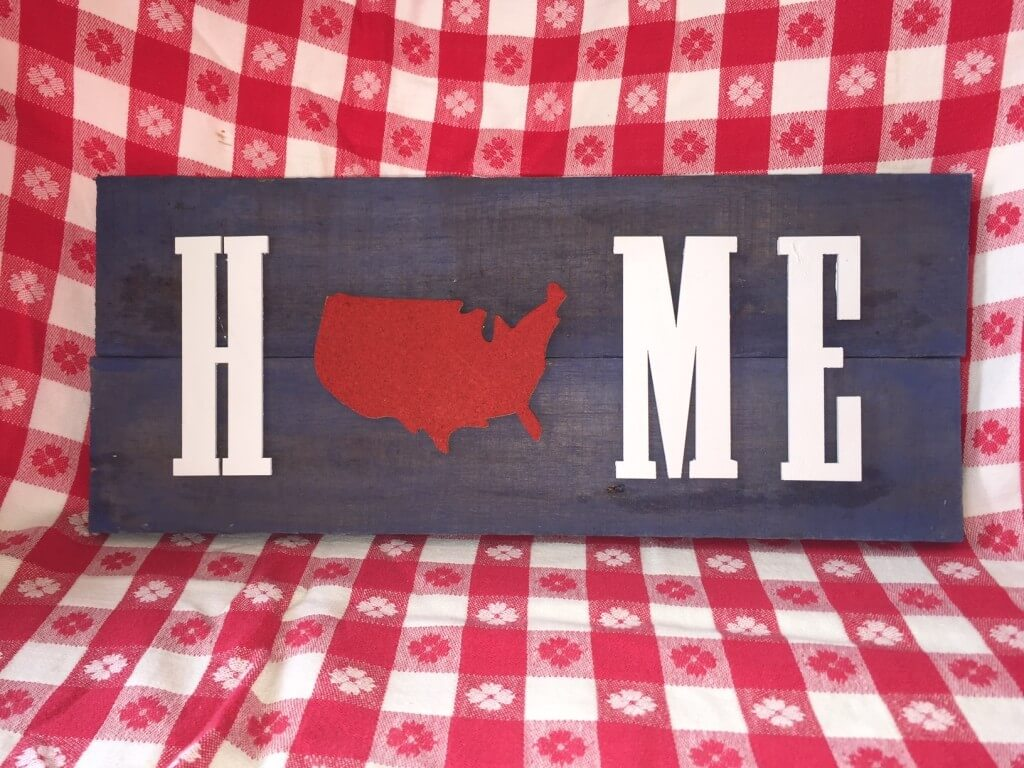 red white and blue america home pallet sign