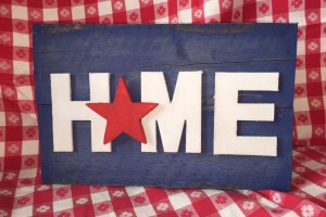red white and blue pallet sign