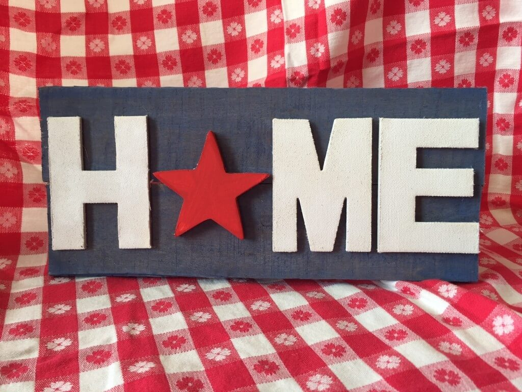 red white and blue home sign