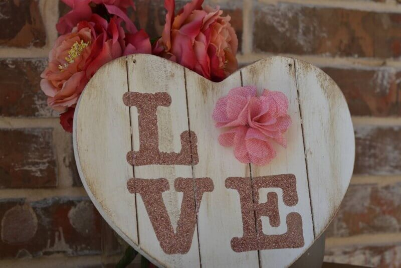 close up shabby chic love sign