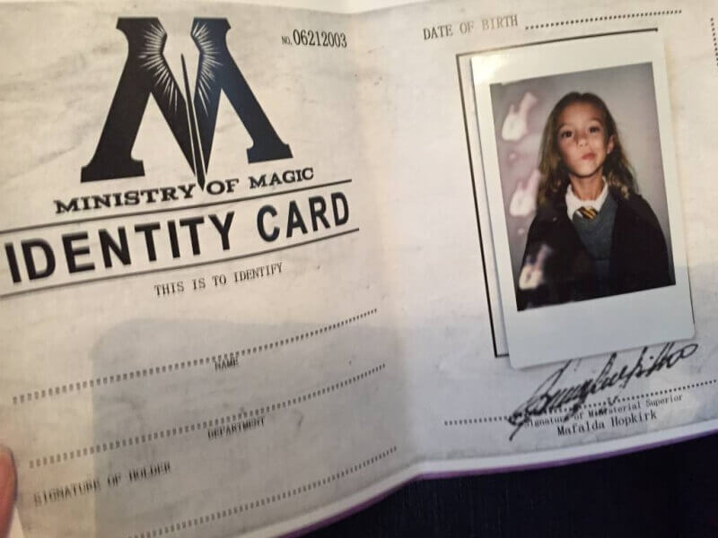 ministry of magic identification card