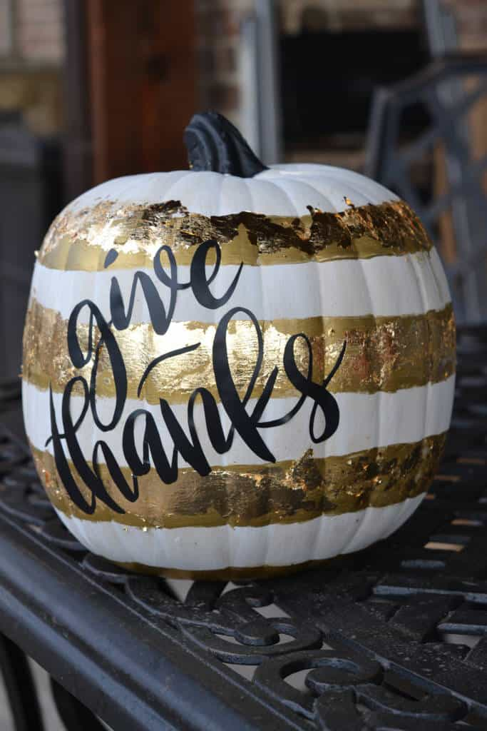 black and gold DIY Thanksgiving pumpkin