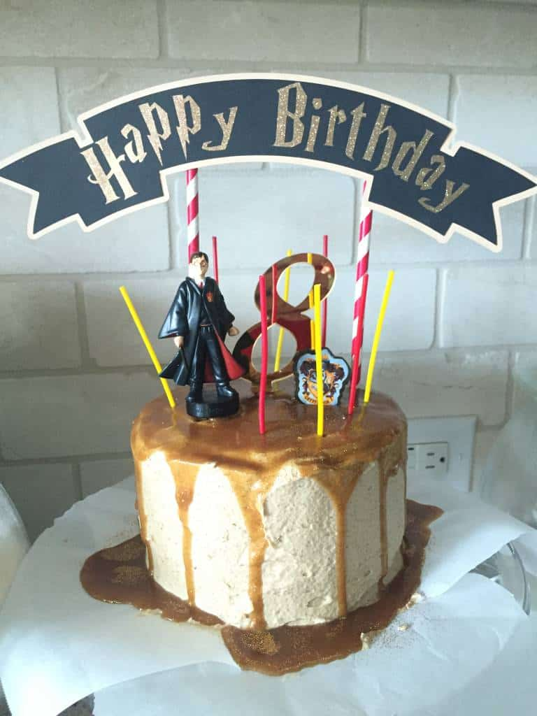 ready for party, harry potter butter beer cake