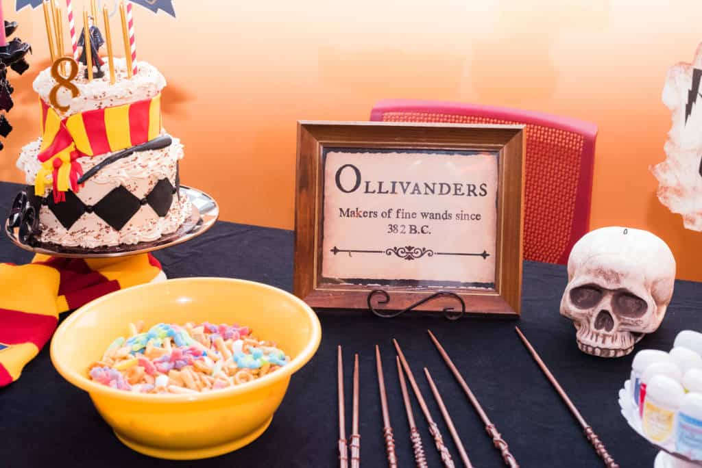 Olivanders wands at Harry Potter party