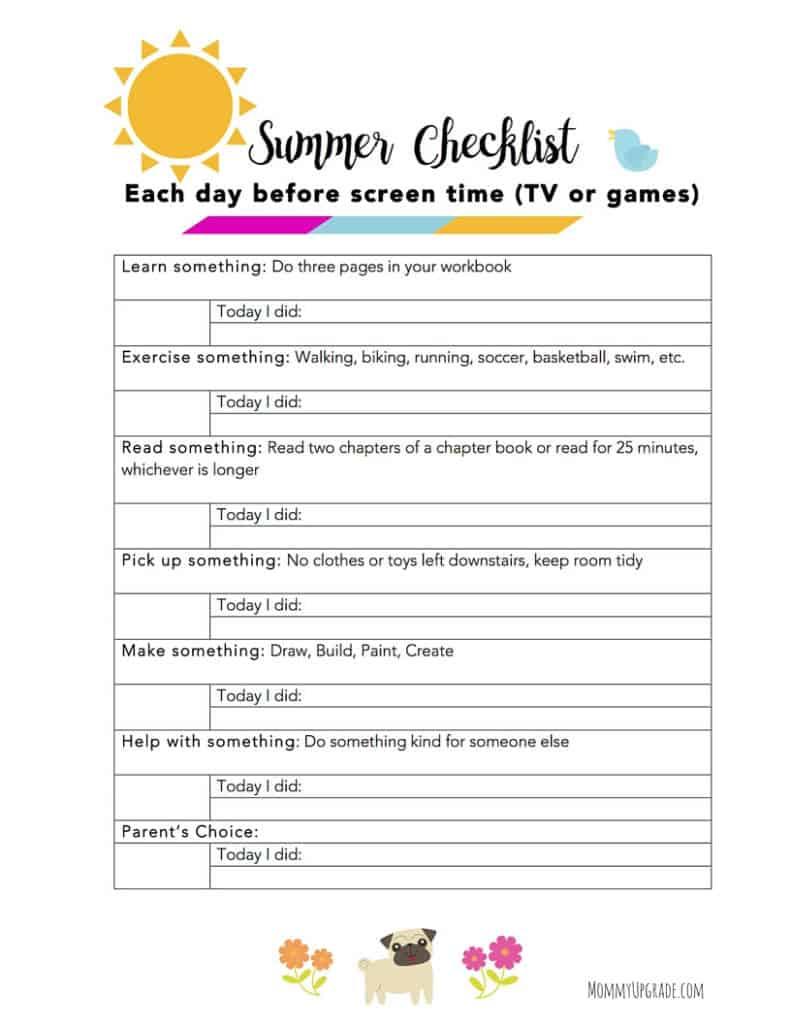 kids summer checklist