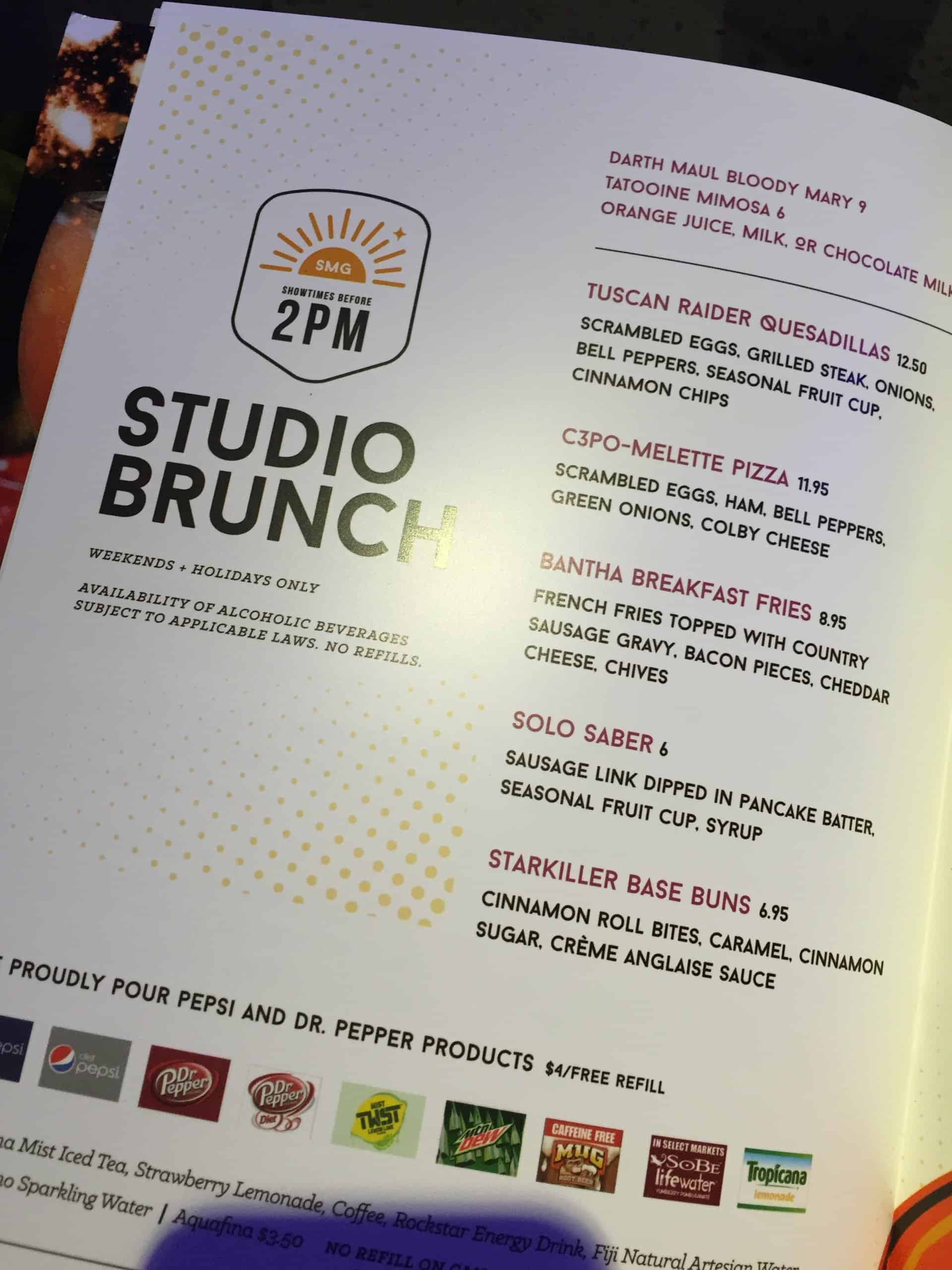 Studio Movie Grill brunch menu