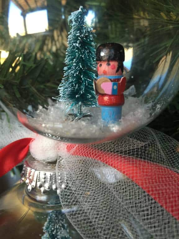 close up of snow globe ornaments