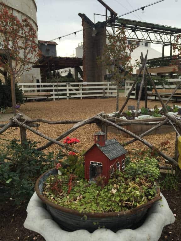 red barn fairy garden at Magnolia