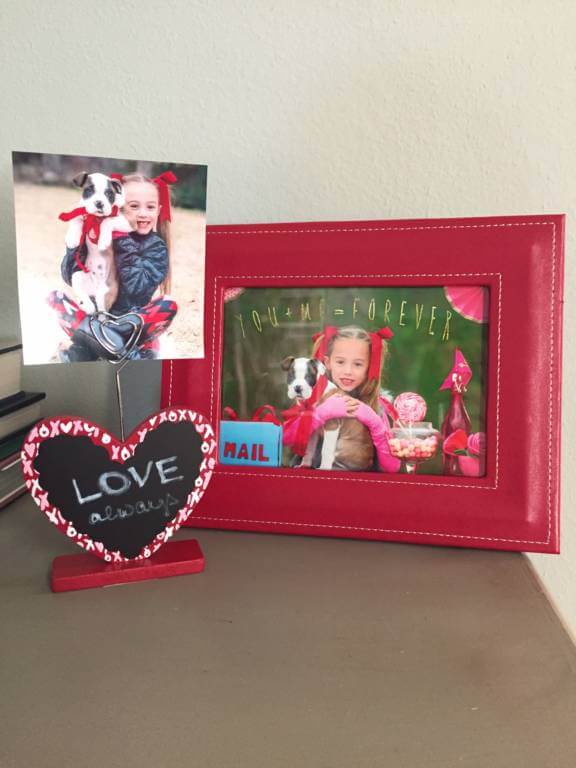 (Red Frame From Hobby Lobby, Small Photo Holder From Walgreens.)