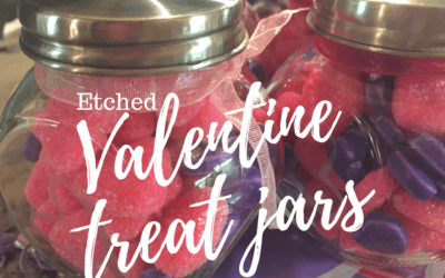 DIY etched glass treat jars for Valentines Day