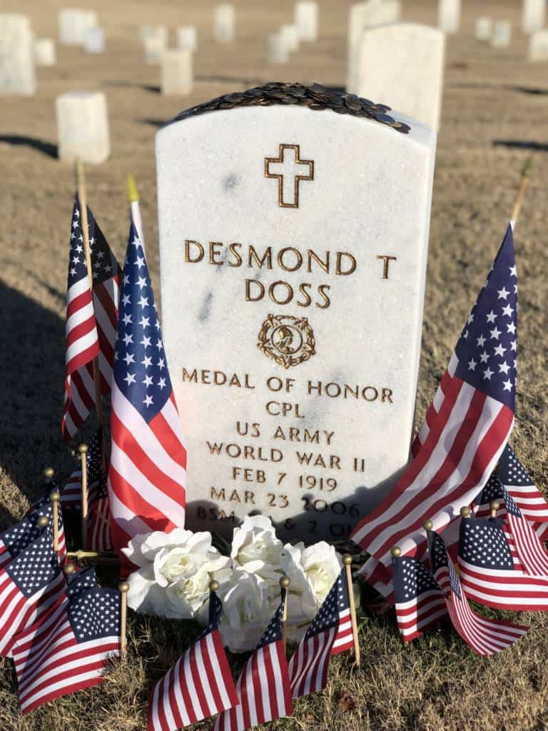 coins on headstone