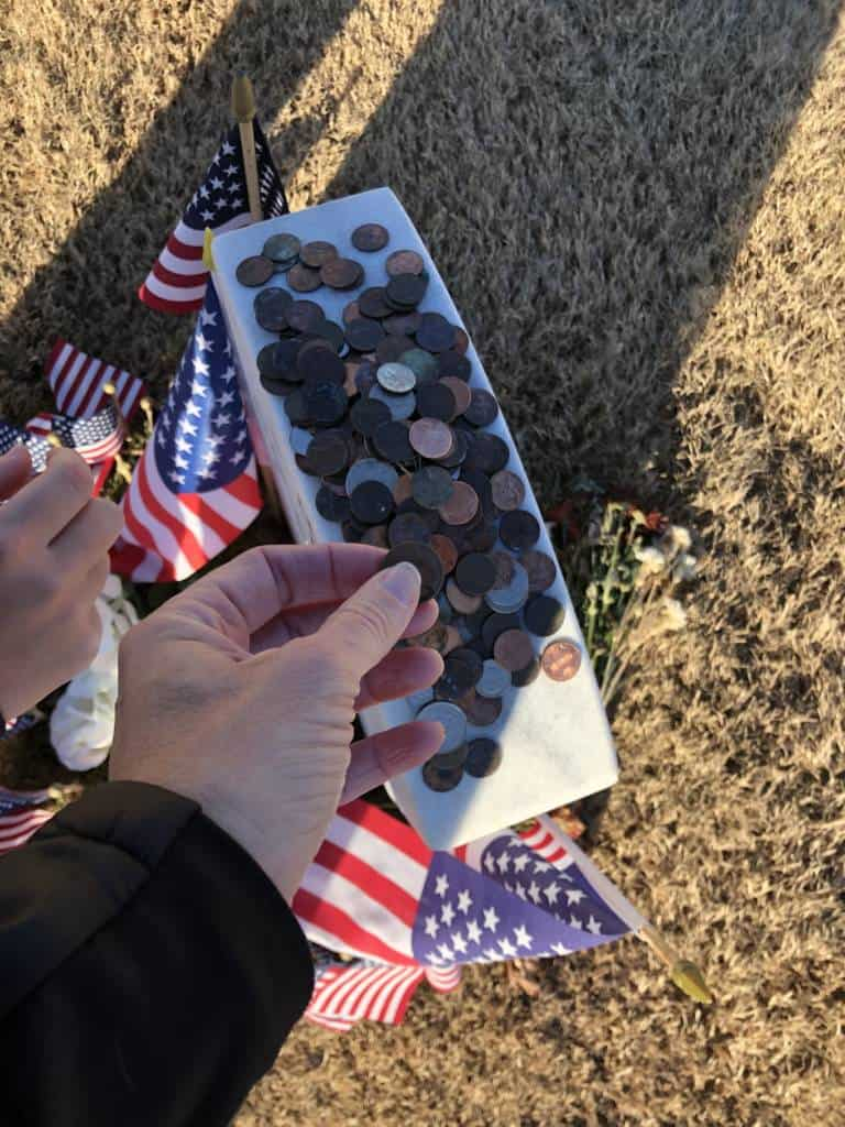 coins on headstones