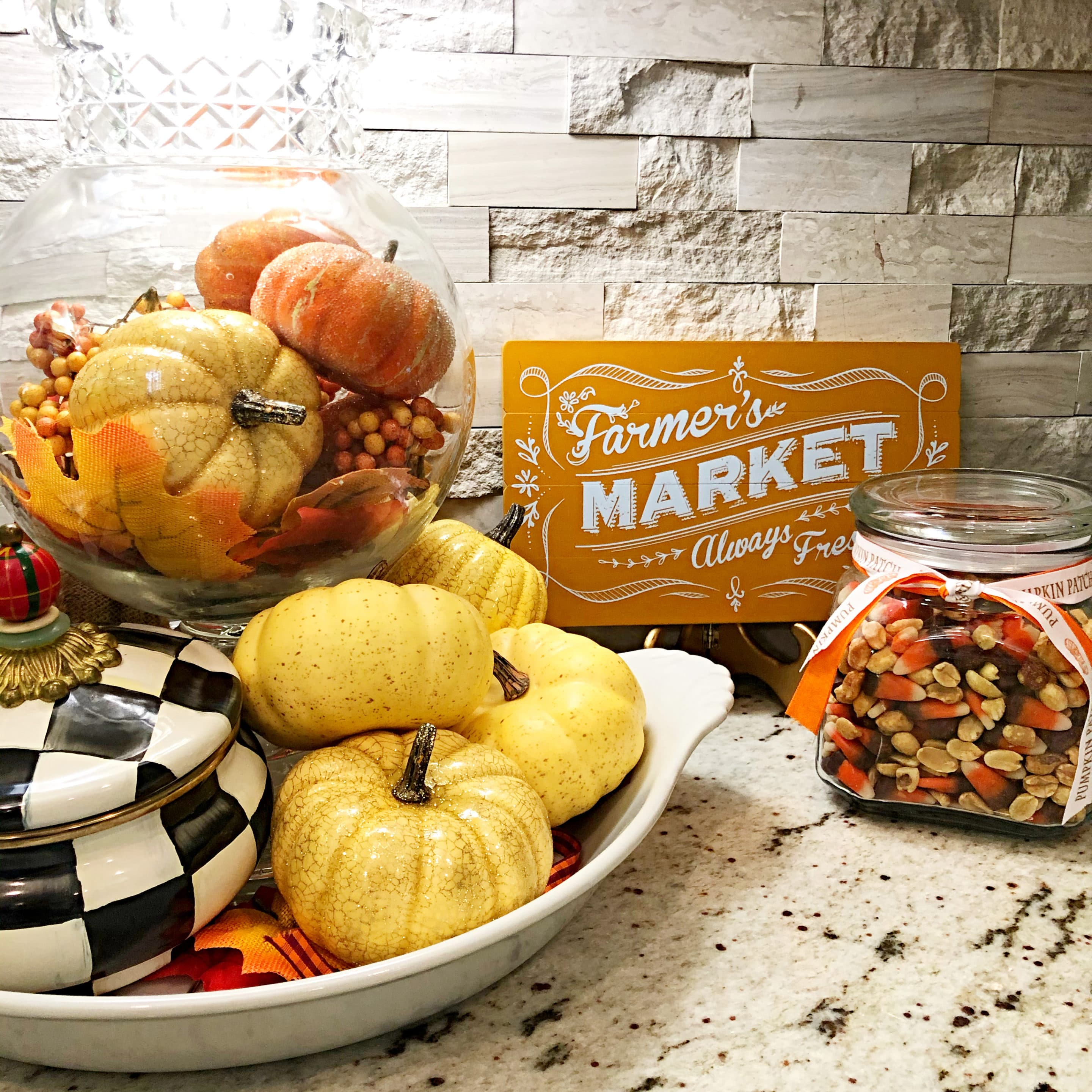fall kitchen scape with candy corn snack mix