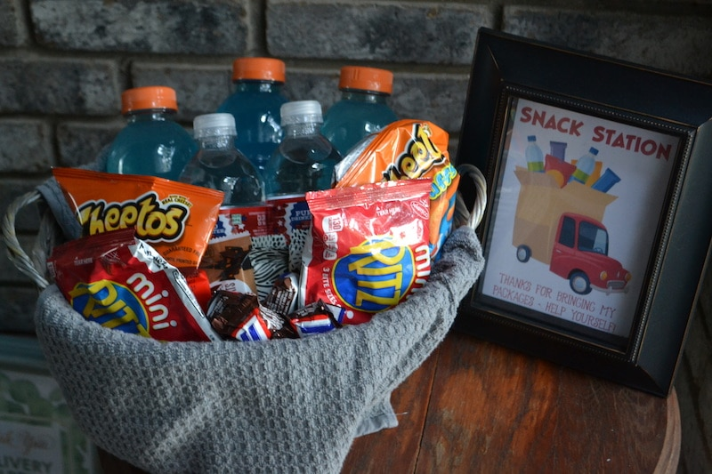 basket of snacks for delivery drivers