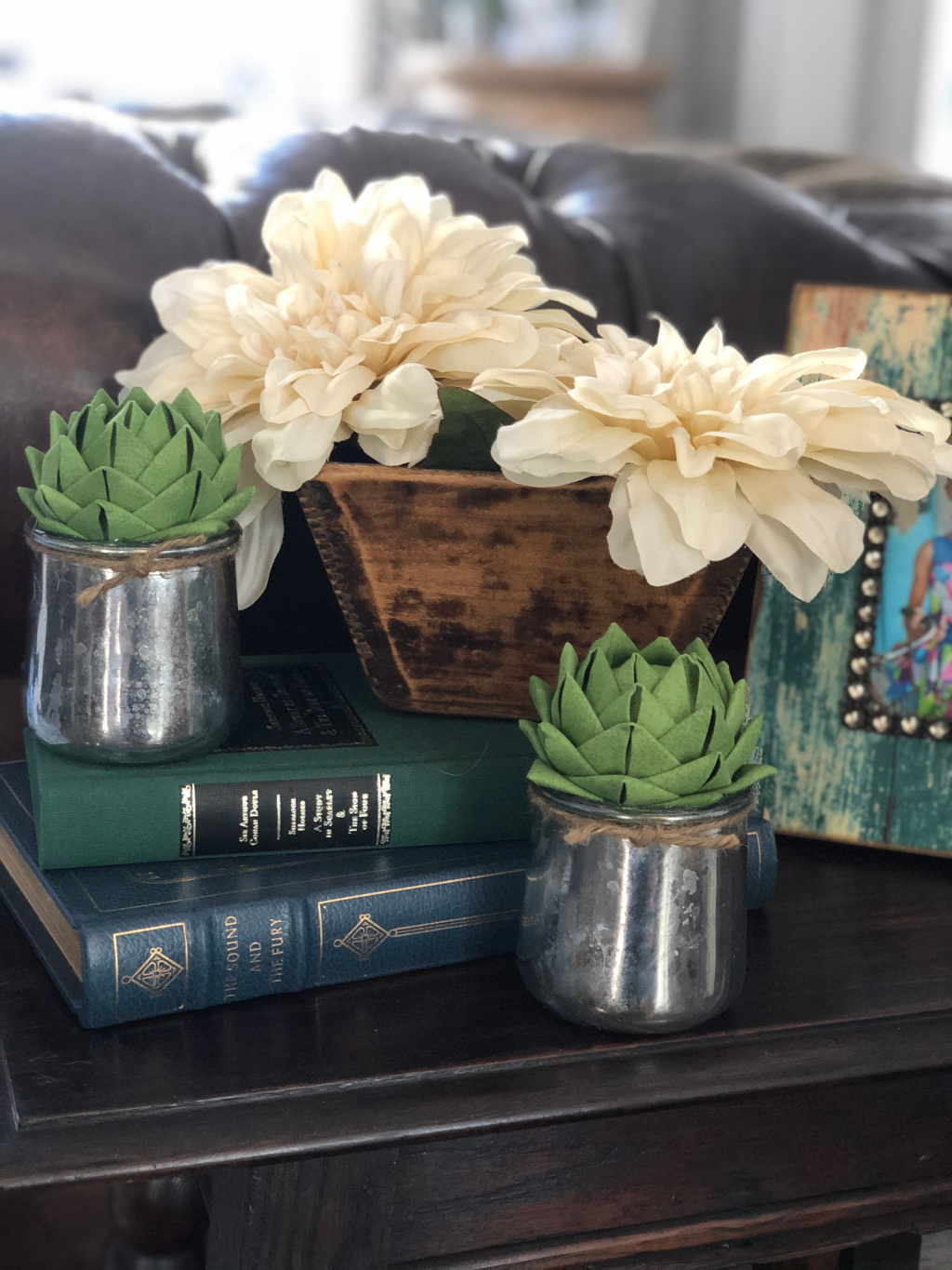 Finished DIY fabric succulents